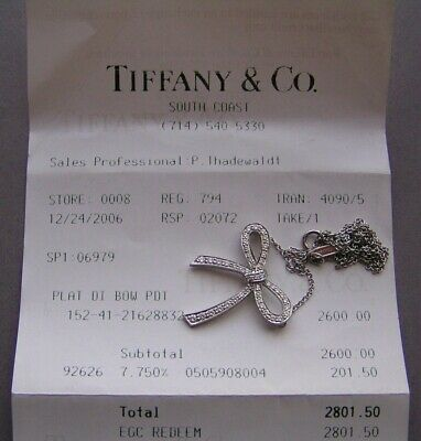 78a3f47d1 Rare Tiffany & Co. Platinum Ribbon Bow Diamond Pendant Necklace, 5.1 Grams