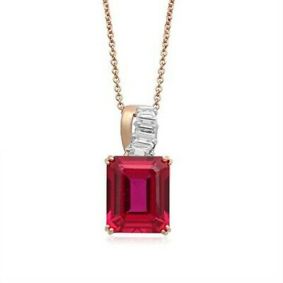 Jewelili 14K Rose Gold Plated Sterling Silver with Ruby, White Sappphire Neck...