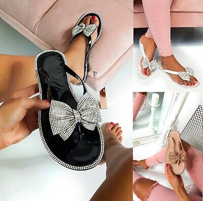 Ladies Womens Flat Jelly Diamante Bow Summer Beach Hoilday Sandals Shoes Sz 3-8