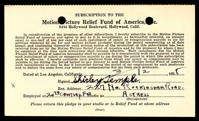 Shirley Temple - Document Signed 03/12/1938