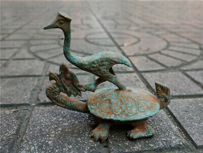 Collectables! Ancient Dynasty Decorated Bronze Carved crane Longevity turtle