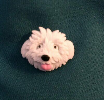 Cute White Fluffy Dog Pup FACE Puppy Clog Holey Shoe Charms Charm