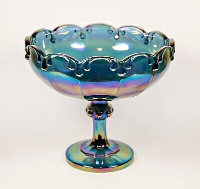 Vintage Indiana Iridescent Blue Carnival Glass Stemmed Footed Compote Bowl