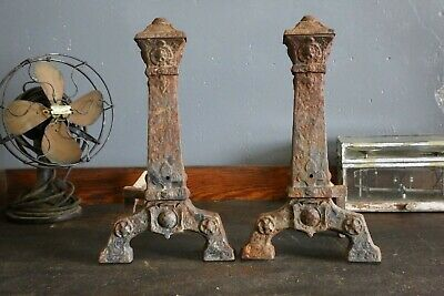 Antique Cast Iron Andirons Fireplace Inserts Medieval Gothic Set of 2 Vintage