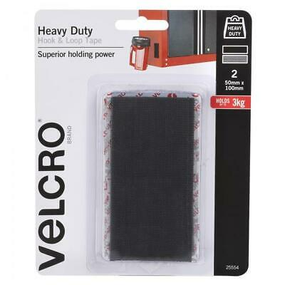 VELCRO® Heavy Duty Hook & Loop Tape - Black - 50mm X 100mm - 2 Pk - Adhesive