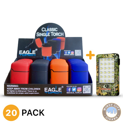 Eagle Jet Torch Lighter Windproof Refillable (PT113) & bonus LED Light (20ct)