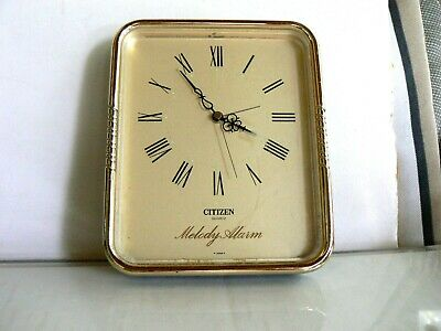 Vintage Citizen Brass 7 Melody Alarm Clock Quartz Model CKN 875 Japan works well