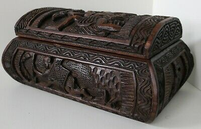 Vintage Persian Hand Carved Wooden Box / Jewellery Trinket Antique Chest