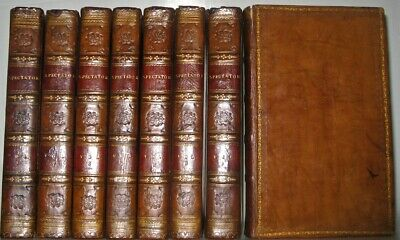 Leather Set;THE SPECTATOR! (Printed 1819!) Complete 8 Volumes library RARE! GIFT