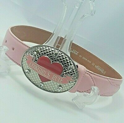 """Child's Pink Leather Belt with Metal Cowgirls Rule Buckle 20-24"""" Nocona Belt Co."""