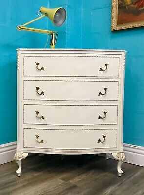 Stunning Vintage French Louis Style Original Shabby Chic Chest Of Four Drawers