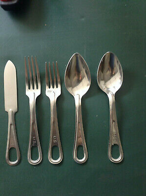 WWII US Military Army Mess Tin Kit Fork 1945 Knife Spoon Utensils Silverware