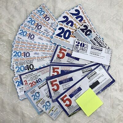 Lot of 40 Bed Bath & Beyond Coupons (5) 20% (20) 10% (15) $5 off $15