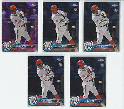 (5) 2018 Topps Chrome Update Victor Robles RC's #HMT22 - Pink Refractor (4) Base