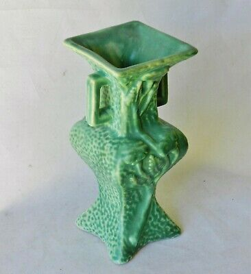 Art Nouveau Niloak Arts Crafts Mission Poppy Chinese Style Handled Pottery Vase