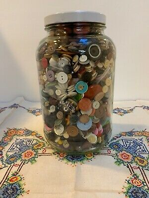 Huge Mixed Lot Antique BUTTONS Collectible Vintage Glass, Pearls, Colors 6 lbs