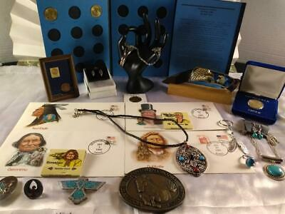 Junk Drawer LOT US Coins, First Day Issues, Jewelry, Turquoise, Vintage