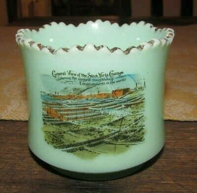 Antique EAPG Green Custard Glass Souvenir Toothpick Holder Chicago Illinois Stoc