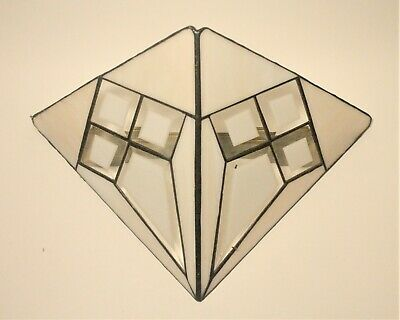 Vintage wall sconce stained glass triangle light shade wall art retro salvage