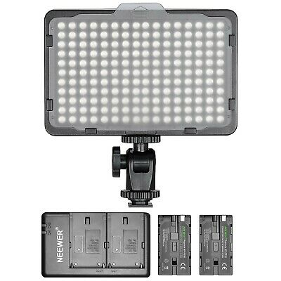 Neewer Dimmable 176 LED Video Lighting, 2 x 2600mAh Battery, Dual USD Charger