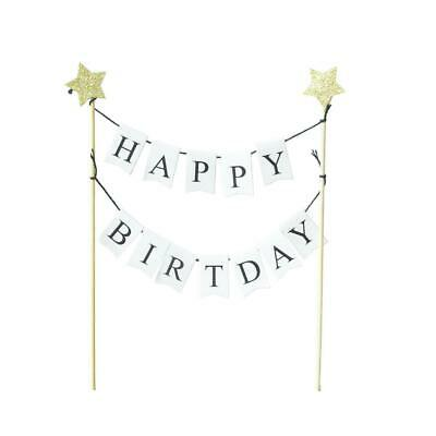 Happy Birthday Cake Topper Bunting Banner Star Decoraiton arty Supplies Gift