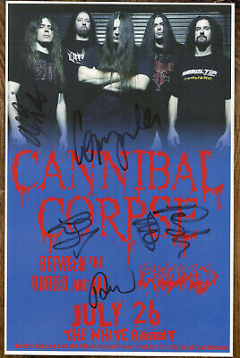Cannibal Corpse autographed gig poster Alex Webster, Rob Barrett, Pat O'Brien