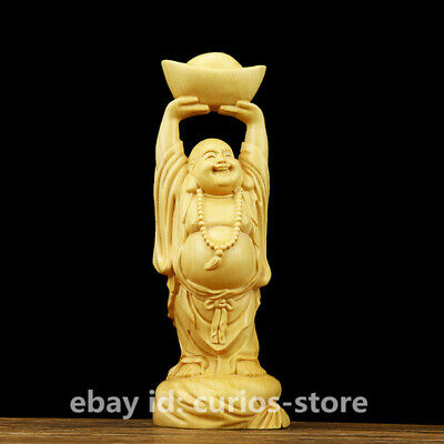 "3.9"" Chinese Box-wood Hand-carved Maitreya Buddha Yuanbao Moneybag Wealth Statue"