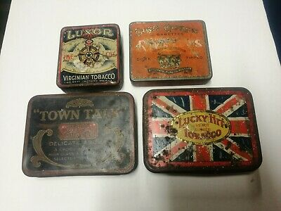 Australian Vintage Tobacco Tins x4,state express 666,Luxor,town talk,lucky hit