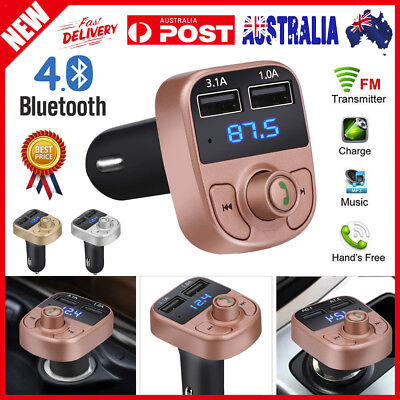 Wireless Bluetooth Handsfree Car FM Transmitter MP3 Player Dual USB Charger 24V