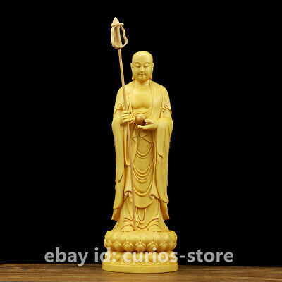 China Box-wood Handcarved Lotus Tang Monk Ksitigarbha Boddhisattva Buddha Statue