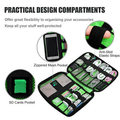 Electronic Accessories Cable Organizer Bag Travel USB Charger Storage Case AU