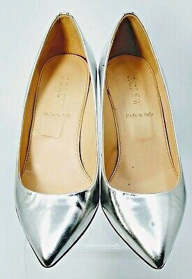 c14d1138f J. Crew Martina Pump Womens 6.5 Silver Metallic Leather Slip On Wedge Heel  Italy