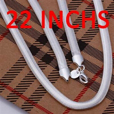 """Promotion Price 925 Silver Snake Bone Unisex Chain Necklace 6MM 22"""" N193"""
