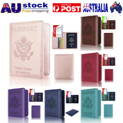New PU Leather Passport Holder Wallet Cover Case RFID Blocking Travel Wallet AU