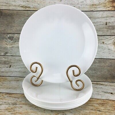 Corelle Living Ware Corning WINTER FROST WHITE Solid Salad Plates Set of 8 USA