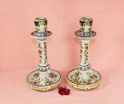 Antique Polychrome Delft Candlesticks - 19th Century