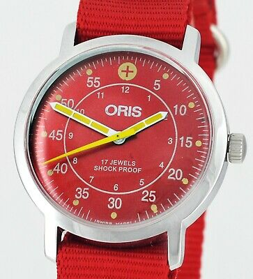 Mint 1970's Swiss ORIS Vintage Military Style Dial Gents Double Red Wrist Watch