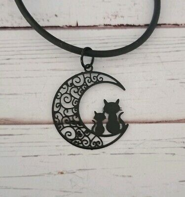 Black cat moon necklace witch wiccan pagan occult alternative newage
