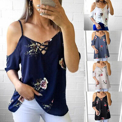 UK Womens Cold Shoulder Floral Blouse Summer Beach Strappy Loose T-shirt Tops