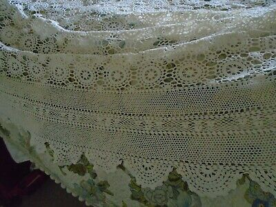 Stunning Antique Hand Crochet Cotton Lace Bedcover - Hand Crochet Lace Border