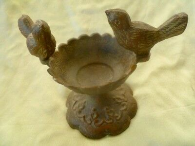 Small Vintage Antique Cast Iron Garden Patio Urn Planter with Two Birds