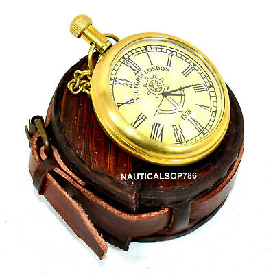 Vintage Brass Clock Victoria London 1876 Pocket Watch With Case Gifting Item,