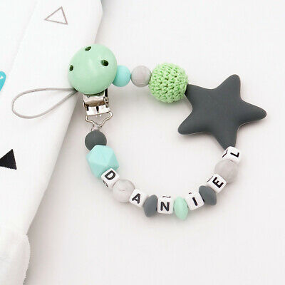 Free Personalized Name Dummy Clips Silicone Baby Pacifier Chain Dummy Holder New