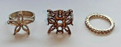 3x Sterling Silver Ring Settings Mounts for Faceted Stones
