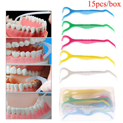 15Pcs random color durable y shape dental floss holder dental care flossing_tool