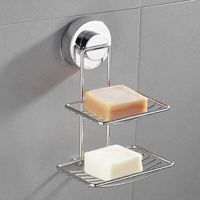Double Strong Suction Soap Dish Holder Bathroom Shower Accessory Rack Tray Stand
