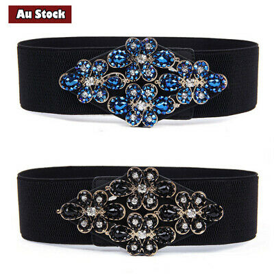 Rhinestone Flower Buckle Waist Belt Women Dress Elastic Black Diamante Waistband