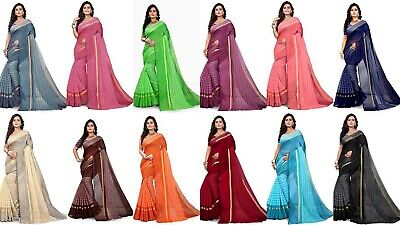 Designer Saree Pakistani Indian Cotton Silk Party Wear Sari Kanjivaram New PT