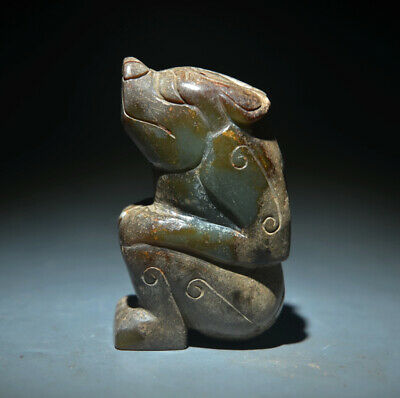 Excellent Chinese Ancient Green Jade Carving Bear Shaped Amulet Statue 2.51""