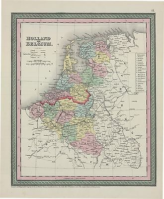 1850 Thomas Cowperthwait's Holland and Belgium(Original Antique Map, Hand Color)